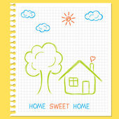 Childlike doodle drawing of house — Stock Vector