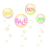 Design for sale with multicolored soap bubbles — ストックベクタ