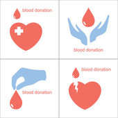 Blood donation icons — Stock Vector