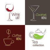 Restaurant drinks menu icons — Stock Vector