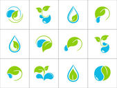 Leaves and water icons — Stock Vector
