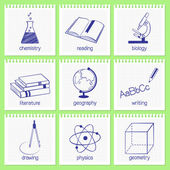 Educational subjects icons — Stock Vector