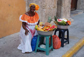 Palenquera Woman Sells Fruits — Foto Stock