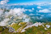 Black lake and mountains — Stock Photo