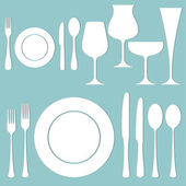 Vector set of formal dinner on the table — Vetorial Stock