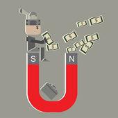Vector super salary man attract money for money idea — Stock Vector