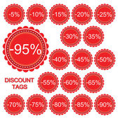 Vector set of discount tags with isolated white background — Stock Vector