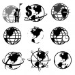 Vector set of 3D world map or globe, series 2 — Stock Vector