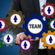 Teamwork and team network concept by gear — Stock Photo