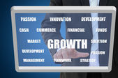 Business growth concept on touch screen — Foto de Stock