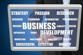 Business development concept on touch screen — Stock Photo