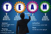 Businessman create team building chart for teamwork concept — Stock Photo