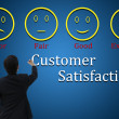 Business man with customer satisfaction for evaluation and analysis concept — Stock Photo