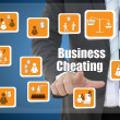 Businessman with business cheating icon concept — Stock Photo