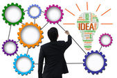 Businessman create idea system for business concept — Stok fotoğraf