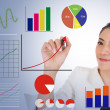 Business woman drawing raising graph to present good performance — Stock Photo