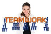 Businesswoman create teamwork for team building concept — Stock Photo