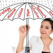 Businesswoman under business umbrella concept — Stock Photo