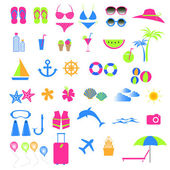 Colorful summer and beach icon — Stock Vector