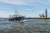 Blue boat in river — Stock Photo