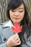Portrait of girl during autumn — Stock Photo