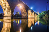 Night scene of stone bridge — Stock Photo