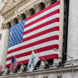 Stock Photo: Americflag at New York Stock Exchange