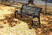 Metal bench in park — Stock Photo