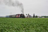 Train passing through a field — Stock Photo