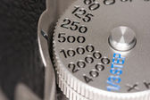 Shutter speed dial on a camera — Stock Photo