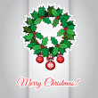 Merry Christmas card with holly berry wreath — Stock Vector