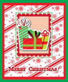 Merry Christmas greeting card with presents — Stock Vector