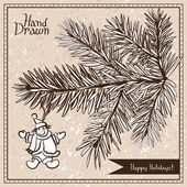 Hand drawn fir branch with snowman — Stock Vector
