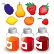 Fruit icons and jam jars — Stock Vector