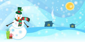 Winter background with a snowman and snow — Vetorial Stock
