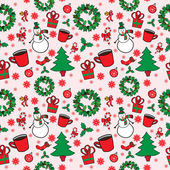 Christmas seamless pattern with snowman — Stock Vector