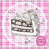 Hand drawn Cake. Vector illustration. — Cтоковый вектор
