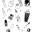 Vector Set of Cosmetic Doodles — Stock Vector