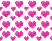 Pixel heart seamless pattern — Stock Vector