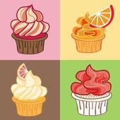 Cupcakes Set. Vector Illustration. — Stock Vector