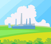 Factory landscape. Vector Illustration. — Stock Vector