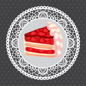 Vector strawberry cake on gray — 图库矢量图片