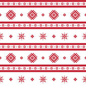Red nordic knitted seamless pattern — Wektor stockowy