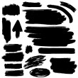 Black vector brush strokes collection — Stock Vector