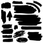Black vector brush strokes collection — Stock Vector