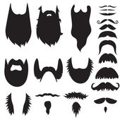 Hand drawn mustaches and beards set — Stock Vector