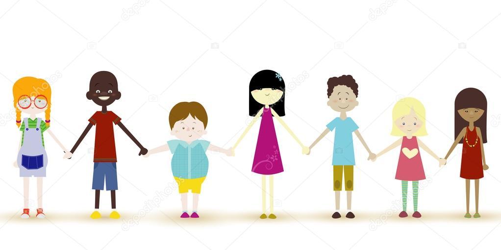 Children holding hands - Vector illustration — Stock ...
