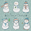 Cartoon snowmen set, christmas illustration — Stock Vector