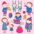 Childish christmas vector set in cartoon style — Image vectorielle