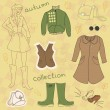 Autumn clothes, vector set — Stock Vector
